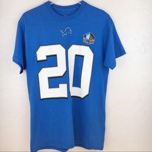 Majestic NFL HOF T Shirt Detroit Lions Sanders #20